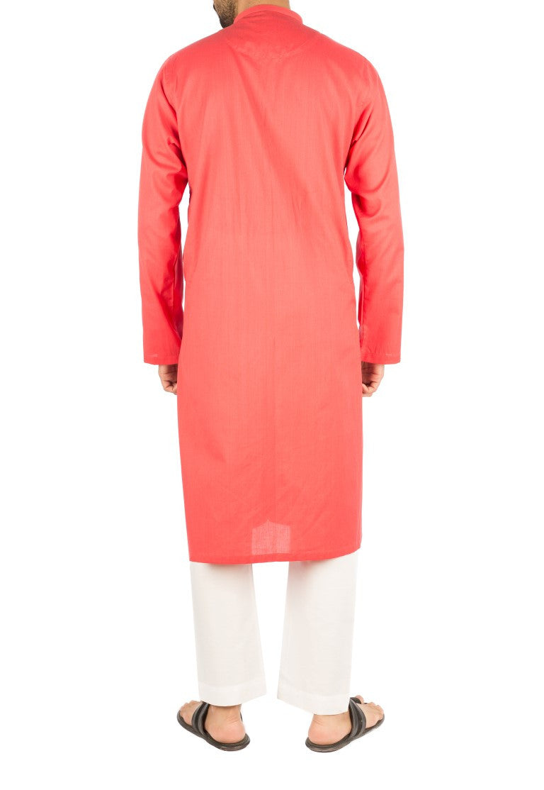 Image of Men Men Kurta in Vermilion SKU: RK-16262-Small-Vermilion