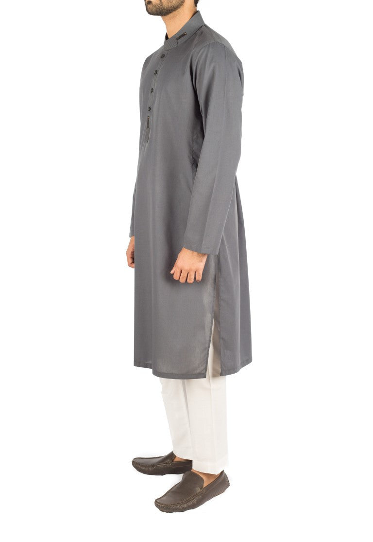 Image of Men Men Kurta Air-force Grey Cotton Kurta. RK-16266