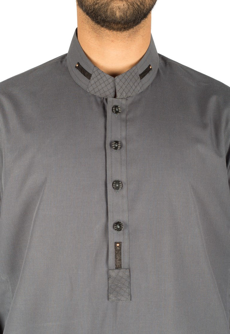 Image of Men Men Kurta in Air Force Grey SKU: RK-16266-Small-Air Force Grey