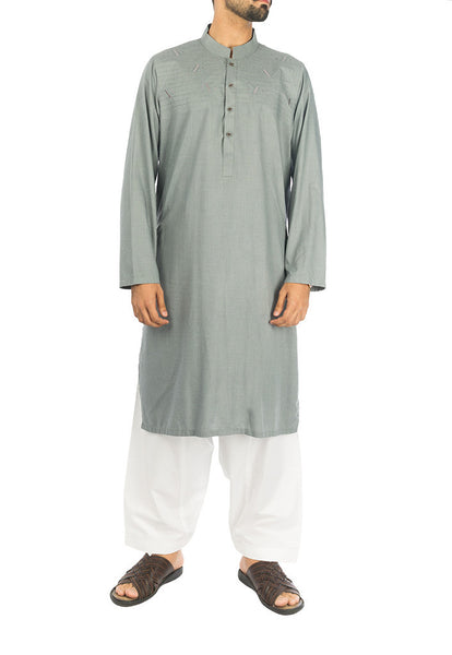 Image of Men Men Kurta Ancient Grey Kurta in blended fabric. RK-16278