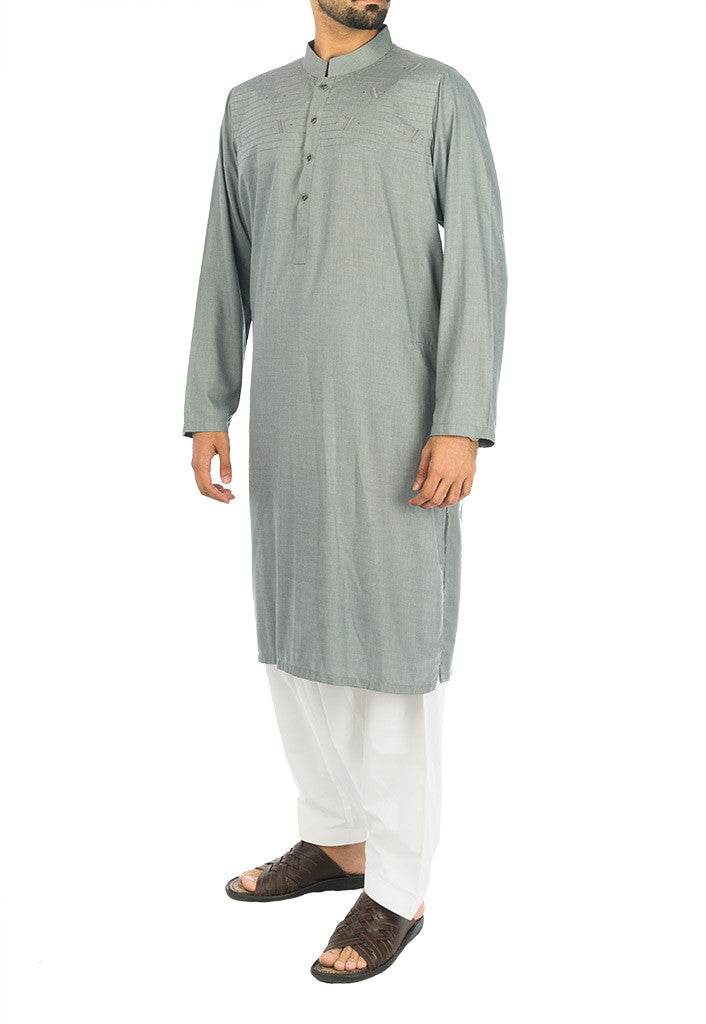 Image of Men Men Kurta in Ancient Grey SKU: RK-16278-Small-Ancient Grey