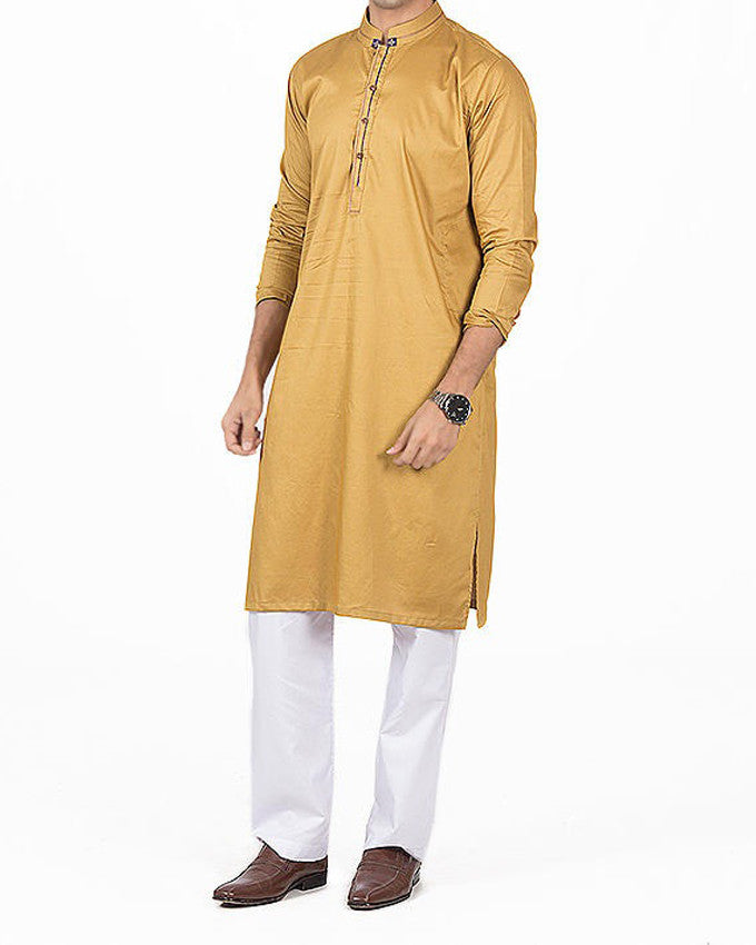 Old Gold Kurta in 100% Cotton with Applique and thread work. Product Code RK-16143