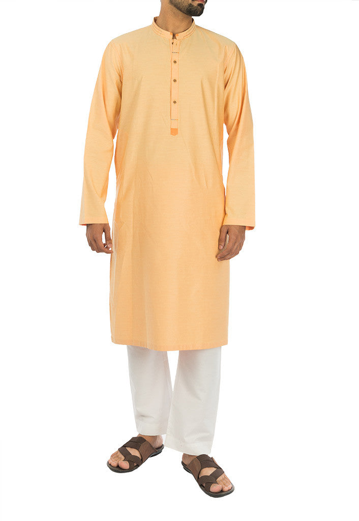 Image of Men Men Kurta Apricot colored Kurta. RK-17119