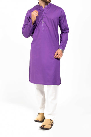 Image of Men Men Kurta Purple High-end Cotton Kurta. RK-39162