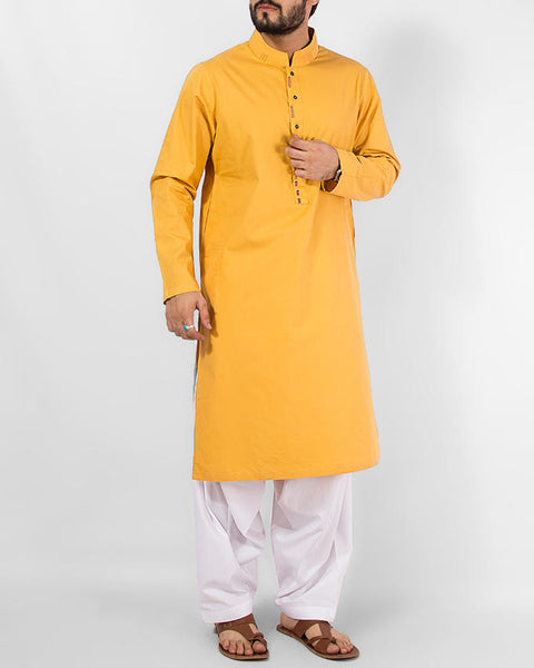 Sun Gold (Yellow) colored Cotton Kurta in thread-work embroidery with Milky White Shalwar. Product Code RQ-14153