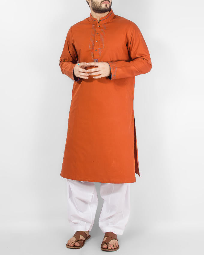 Image of Men Men Kurta Shalwar Orange- Red colored Kurta (applique and thread work) with Milky White Shalwar. Product Code RQ-14155