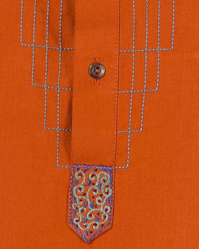 Orange- Red colored Kurta (applique and thread work) with Milky White Shalwar. Product Code RQ-14155