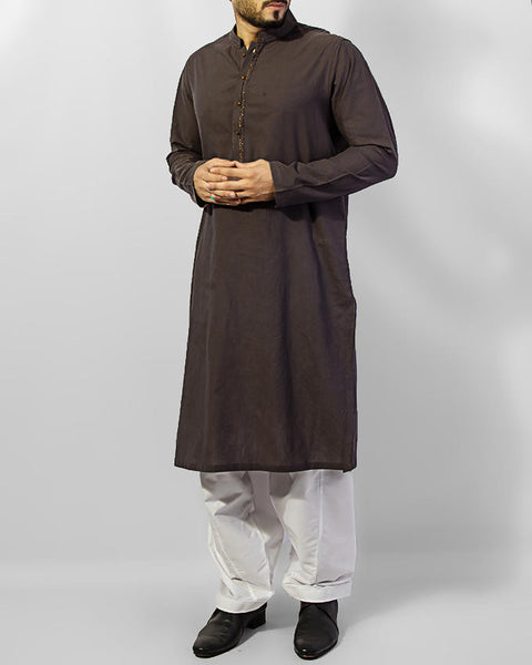 Charocoal Grey Kurta with embroidery and applique work along with Milky White Shalwar. Product Code RQ-15033