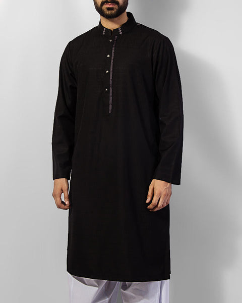 Image of Men Men Shalwar Qameez Black Cotton Kurta in Textutred fabric with sleek embroidery along-with Milky White Shalwar. Product Code RQ-15038