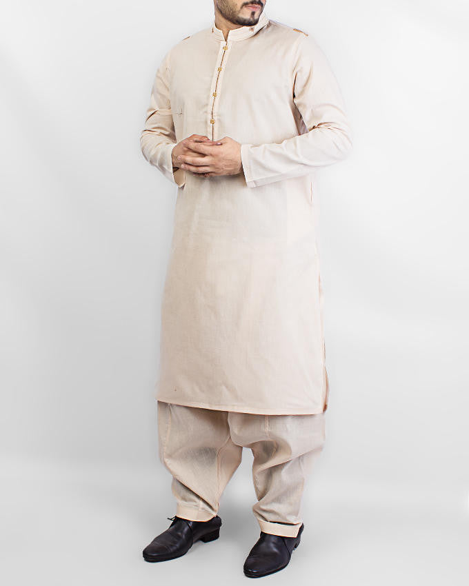 Image of Men Men Shalwar Qameez Light Peach colored Cotton Shawar Qameez Suit. Product Code RQ-15073