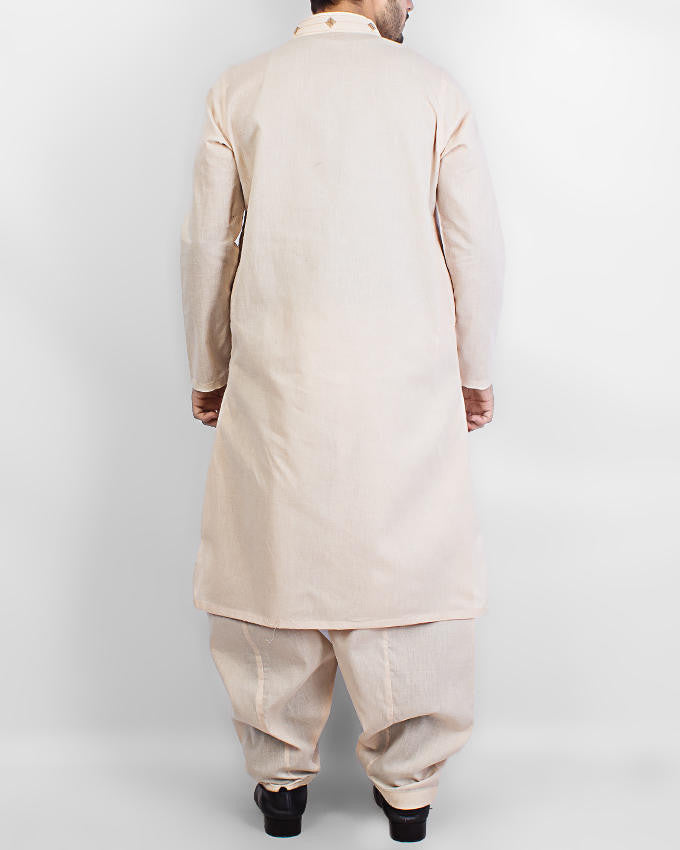 Light Peach colored Cotton Shawar Qameez Suit. Product Code RQ-15073