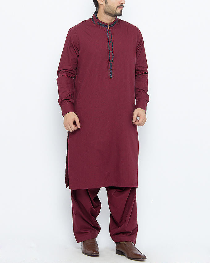 Image of Men Men Shalwar Qameez Maroon Colored Shalwar Qameez in Dyed Yarn Cotton With Applique in Contrast Fabrics. Product Code RQ-15092