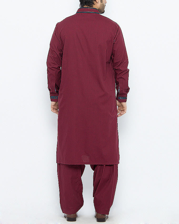Maroon Colored Shalwar Qameez in Dyed Yarn Cotton With Applique in Contrast Fabrics. Product Code RQ-15092
