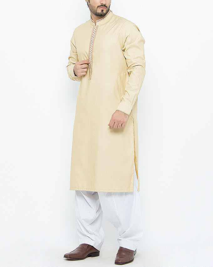Image of Men Men Shalwar Qameez in Buff SKU: RQ-15096-Small-Buff