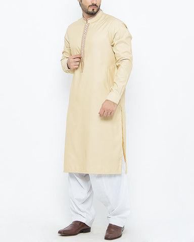 Image of Men Men Shalwar Qameez Buff Colored Shalwar Qameez Suit in Blended with Hand Embroidery and Applique Work on collar and placket. Product Code RQ-15096