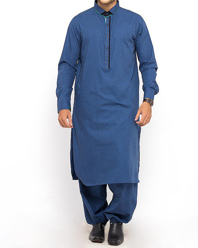 Image of Men Men Shalwar Qameez Basic Blue shalwar Qameez Suit Blended dyed yarn with Applique work Product Code RQ-15311