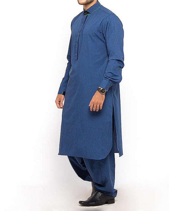 Basic Blue shalwar Qameez Suit Blended dyed yarn with Applique work Product Code RQ-15311