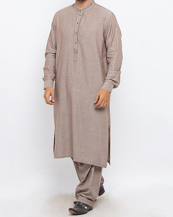 Image of Men Men Shalwar Qameez in Brown Chambray SKU: RQ-15323-Small-Brown Chambray