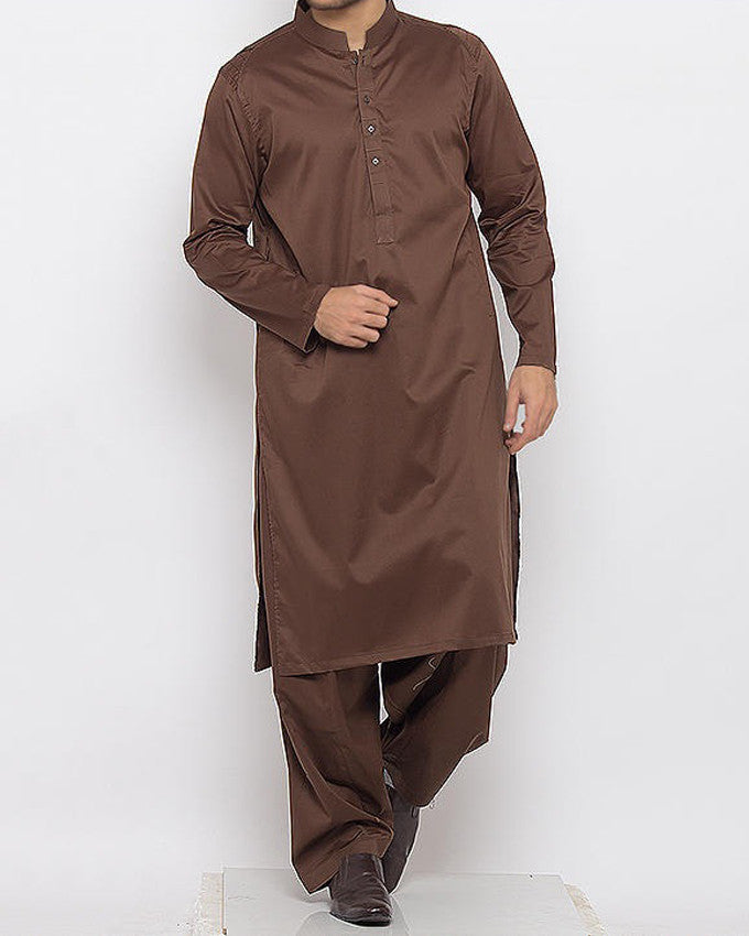 Image of Men Men Shalwar Qameez Dark Brown Shalwar Qameez in Cotton Fabric With Thread Work Product Code RQ-15336