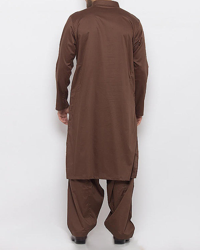 Dark Brown Shalwar Qameez in Cotton Fabric With Thread Work Product Code RQ-15336