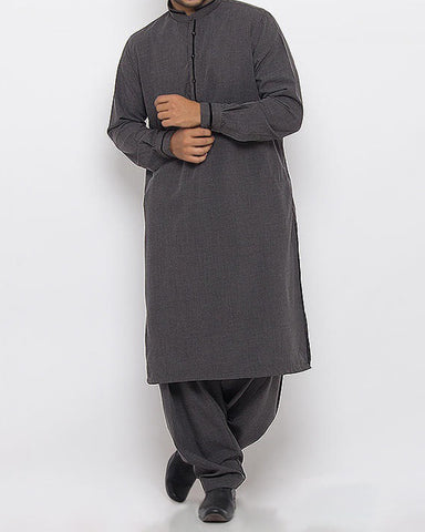 Image of Men Men Shalwar Qameez Militia Grey Shalwar Qameez Suit in Blended Fabric with light Applique work Product Code RQ-15342