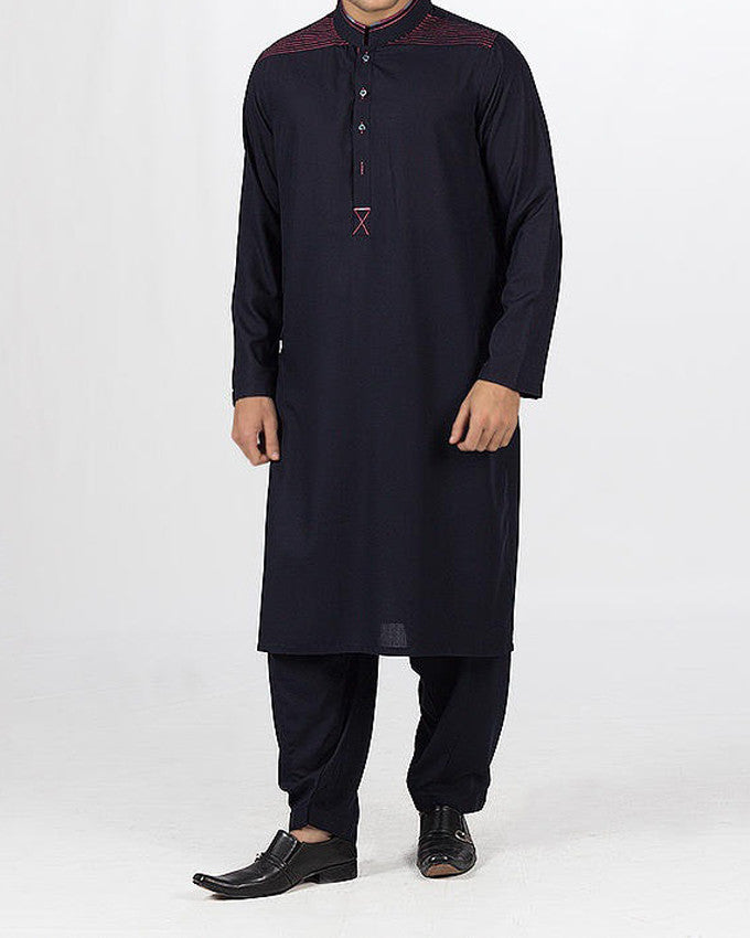 Image of Men Men Shalwar Qameez in Black Blue SKU: RQ-16113-Small-Black Blue