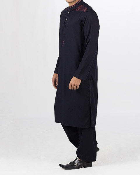 Black-Blue colored Shalwar Qameez suit in Blended fabric with Applique & Thread work. Product Code RQ-16113