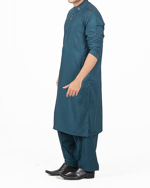 Dark Turquoise Shalwar Qameez Suit in blended Fabric with detailed embroidery and applique work. Product Code RQ-16157