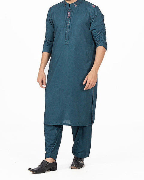 Image of Men Men Shalwar Qameez Dark Turquoise Shalwar Qameez Suit in blended Fabric with detailed embroidery and applique work. Product Code RQ-16157