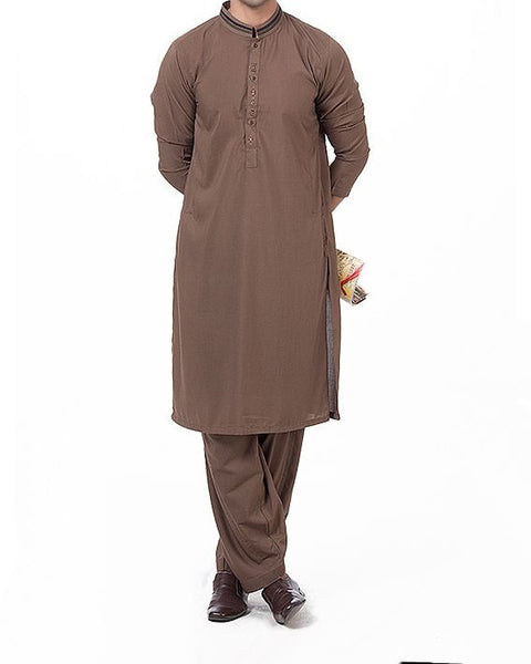 Raw Coffee colored shalwar Qameez suit in blended voile with hand embroidery & applique work Product Code RQ-16163