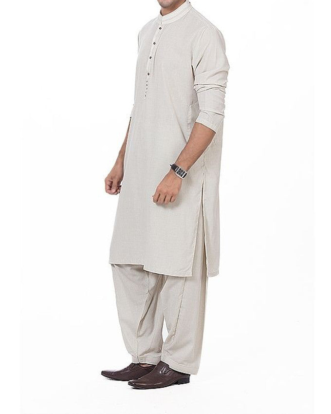 Image of Men Men Shalwar Qameez Ash White Shalwar Qameez Suit in Blended Fabric with slight applique  work Product Code RQ-16165