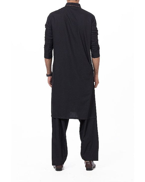 Black Shalwar Qameez Suit in Blended PV Fabric with applique and Thread work Product Code RQ-16167