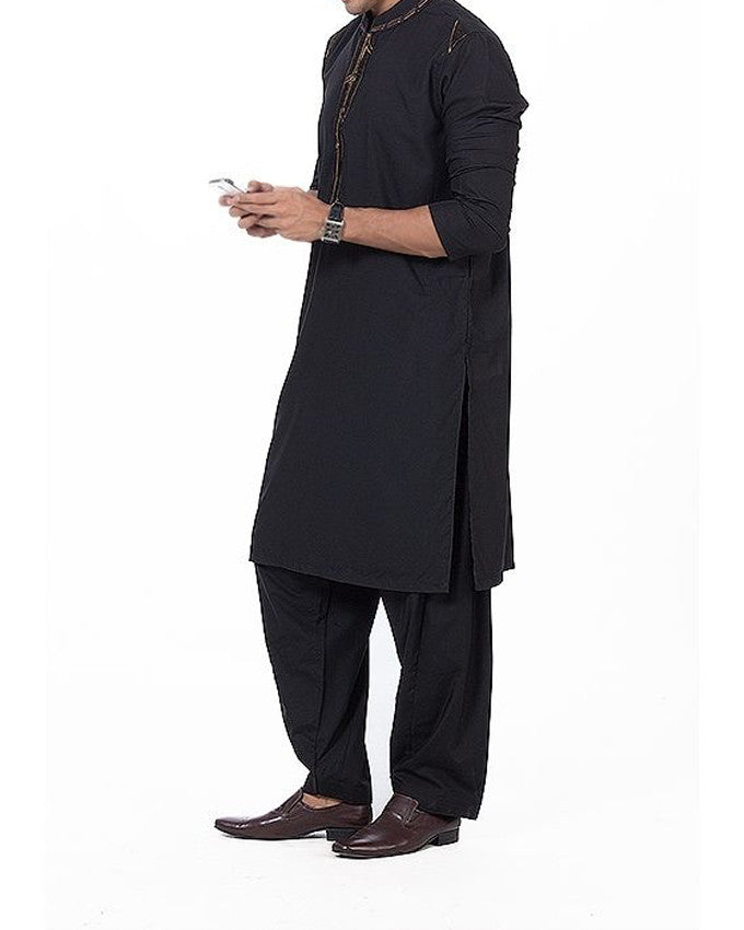 Image of Men Men Shalwar Qameez in Black SKU: RQ-16167-Small-Black
