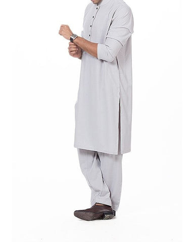 Ash Grey Shalwar Qameez Plain Suit in blended fabric Product Code RQ-16172