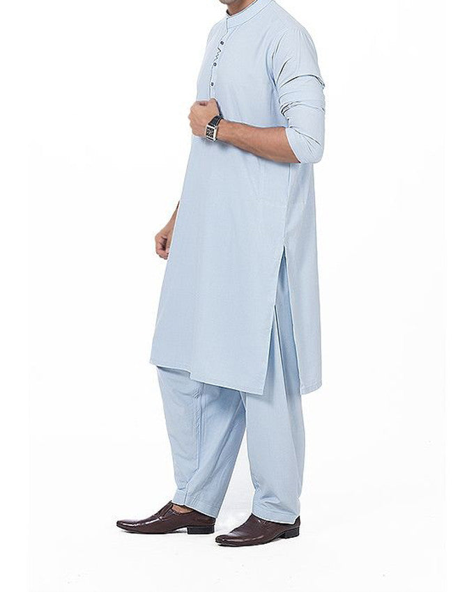 Image of Men Men Shalwar Qameez Sky Blue shalwar qameez suit with thread work Product Code RQ-16173