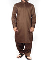 Image of Men Men Shalwar Qameez Sepia Brown Shalwar Qameez Suit in Blended fabric with Shirt Collar and light applique & thread work Product Code RQ-16202
