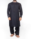 Image of Men Men Shalwar Qameez Midnight Blue Shalwar Qameez Suit in Blended (PV) fabric with detailed applique work with slight embroidery Product Code RQ-16203