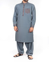 Image of Men Men Shalwar Qameez Royal Grey Shalwar Qameez Suit in Blended Fabric with designer applique work in detail. Product Code RQ-16206