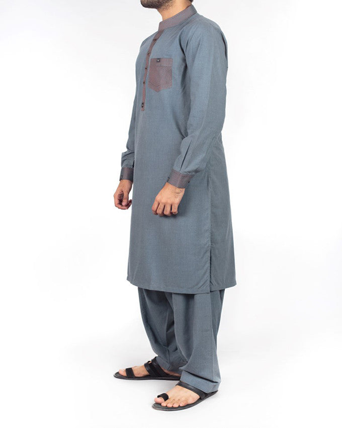 Royal Grey Shalwar Qameez Suit in Blended Fabric with designer applique work in detail. Product Code RQ-16206