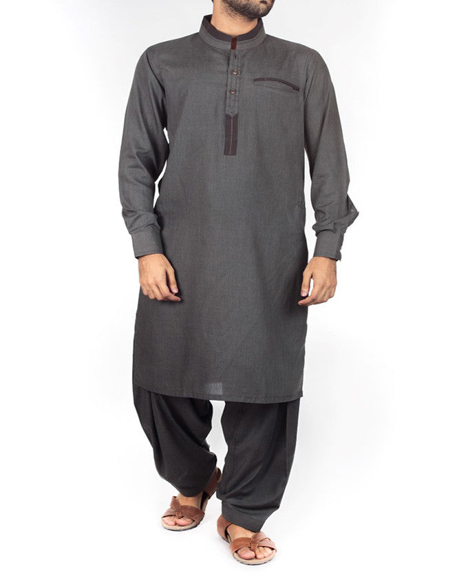 Image of Men Men Shalwar Qameez Charcoal Gery Shalwar Qameez suit in Blended fabric with designer details. Product Code RQ-16207