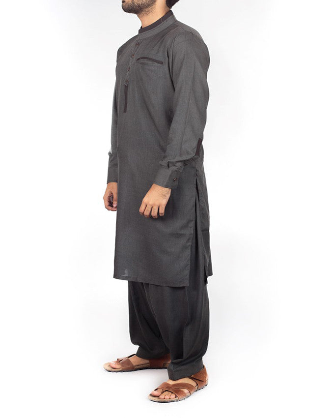 Charcoal Gery Shalwar Qameez suit in Blended fabric with designer details. Product Code RQ-16207
