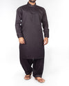 Image of Men Men Shalwar Qameez Black Shalwar Qameez suit (100% fine count cotton) with design details. Product Code RQ-16209