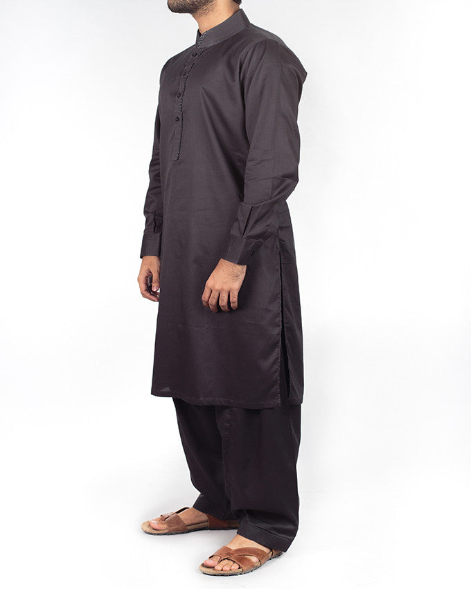Black Shalwar Qameez suit (100% fine count cotton) with design details. Product Code RQ-16209