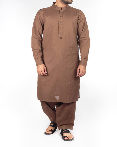 Raw Brown colored Shalwar Qameez suit in 100% cotton Dyed Yarn with designer details. Product Code RQ-16211