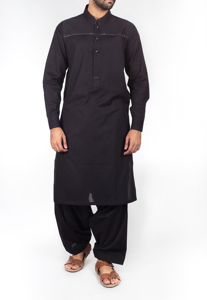 Black Shalwar Qameez suit in 100% fine cotton (dyed yarn) with designer details. Product Code RQ-16213
