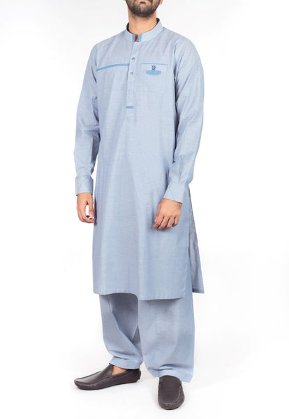 Air force Blue Shalwar Qameez suit in Blended fabric with applique work. Product Code RQ-16216