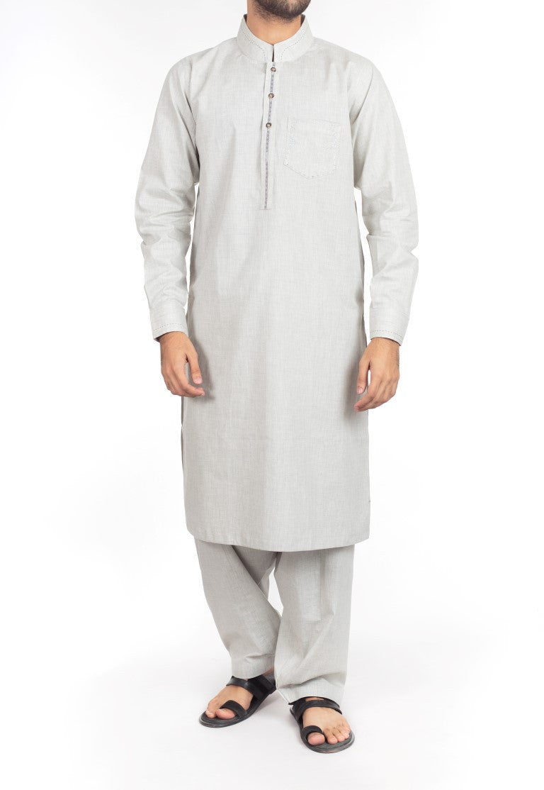 Image of Men Men Shalwar Qameez Ash Grey Shalwar Qameez  suit in Blended fabric with Thread  & Applique work. Product Code RQ-16217