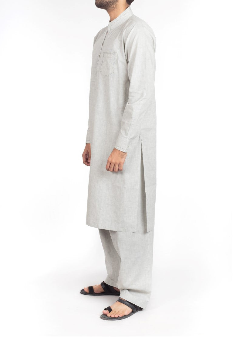 Ash Grey Shalwar Qameez  suit in Blended fabric with Thread  & Applique work. Product Code RQ-16217