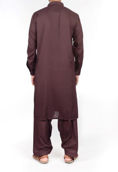Dark Brown Shalwar Qameez suit in Blended fabric with Thread Work . Product Code RQ-16221