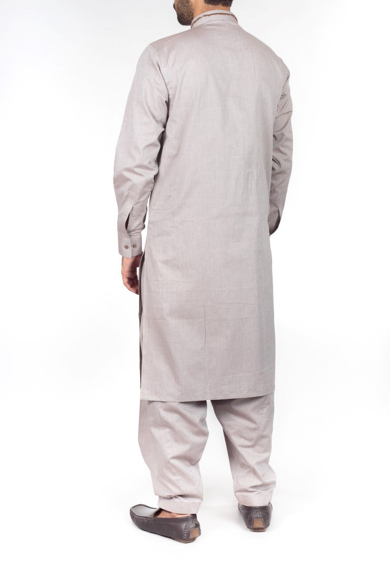 Image of Men Men Shalwar Qameez in Brown Chambray SKU: RQ-16225-Small-Brown Chambray